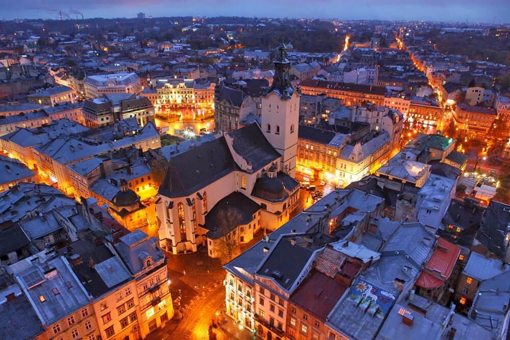 Город Львов - вид сверху