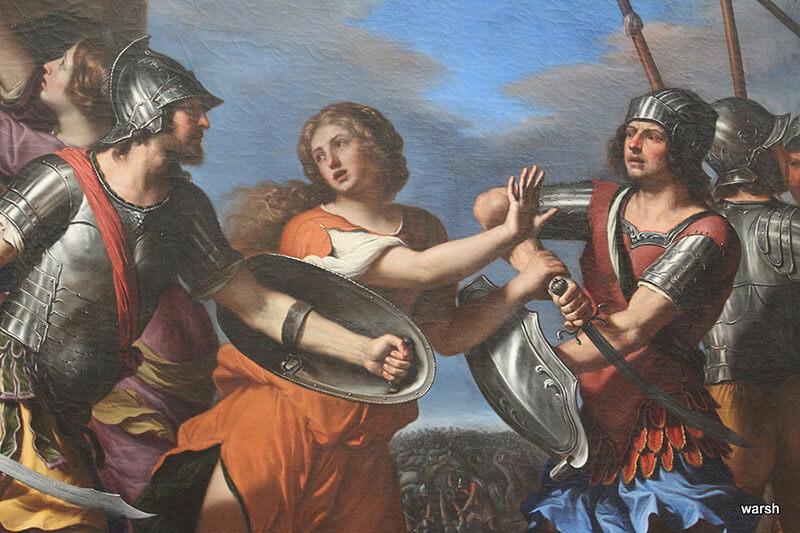 Герсилия разнимает Ромула и Тита Тация