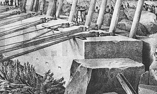 Заготовка каменных блоков при строительстве Александровской колонны