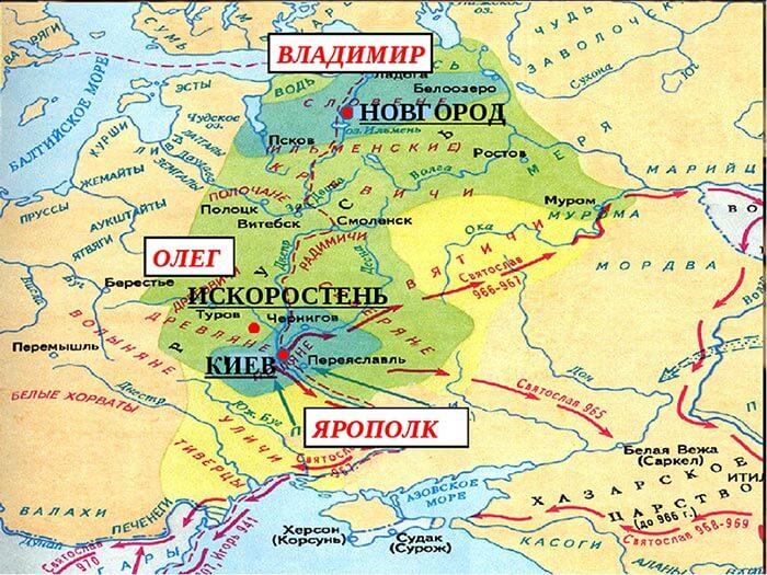 Коростень на карте Древней Руси
